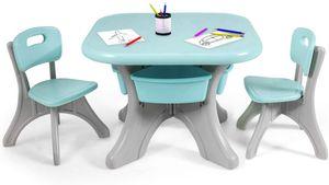 COSTWAY Sitzgruppe Kinder, 3tlg. Kindersitzgruppe, Kindertisch mit 2 Kinderstühlen, Kindertischgruppe PE, mit Aufbewahrungsboxen Grün