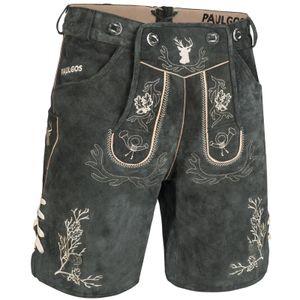 PAULGOS Herren Trachten Lederhose kurz - HK3 - Echtes Leder - in 2 Farben erhältlich - Größe 44 - 60, Farbe:Grau, Größe:52