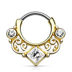 Nasenpiercing Septum Ring Clicker Nasenring Klapp Piercing Nase Zirkonia Kristall Chirurgenstahl gold-klar