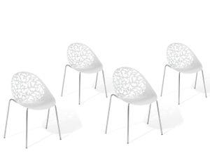 Stuhl 4er Set Weiß Kunststoff Metallbeine Rückenlehne Retro/Modern