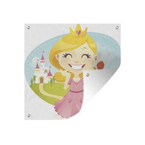Gartenposter - Kinder Illustration einer lachenden Prinzessin mit einer Rose - 100x100 cm
