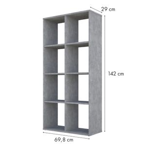 Polini Home Raumteiler Bücherregal Regal grau 8 Fächer
