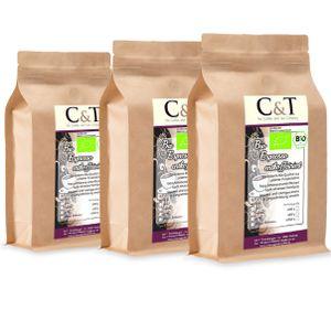 C&TEspresso Crema | Cafe entkoffeiniert 100 % Arabica 3x1000 g ganze Bohnen Gastro-Sparpack im Kraftpapierbeutel