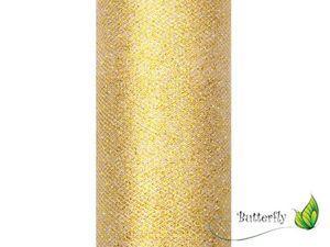 Glitzer Tüll 15cm, 9 Meter, Farbe:019 gold