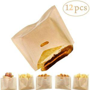 Melario 12 Stücke Tasche Toast Brot Backen Beutel Wiederverwendbar Toastschnitte Sandwich 16 cm x 16,5 cm
