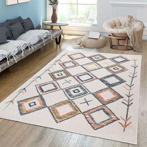 Wohnzimmer Teppich Kurzflor Mit Buntem Modernem Ethno Rauten Design Pastell, Farbe:Mehrfarbig, Größe:160x230 cm