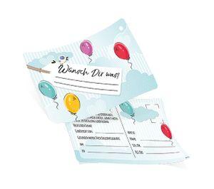50 Ballonflugkarten inkl. Befestigungsloch Wünsch Dir was! Wolken, Luftballons ca 14,8 x 10,5 cm