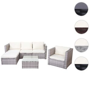 Poly-Rattan-Garnitur Busto, Gartengarnitur Sitzgruppe Sofa Lounge-Set  grau, Kissen creme