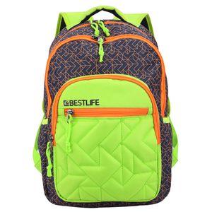 """BESTLIFE Unisex Rucksack """"JUST"""" Schultasche Freizeittasche mit Laptopfach bis 15,6 Zoll (39,6cm), blau/grün"""