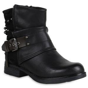 Mytrendshoe Gefütterte Damen Biker Boots Glitzer Stiefeletten Nieten Schuhe 818930, Farbe: Schwarz, Größe: 37