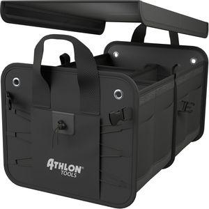 ATHLON TOOLS Premium Kofferraumtasche mit Deckel, 60 Liter XXL Kofferraum-Organizer, Extra stabile & wasserfeste Böden, mit Antirutsch-Klett