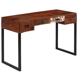 dereoir Schreibtisch Massivholz und Echtleder 117x50x76 cm