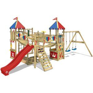 WICKEY Spielturm Ritterburg Smart Queen mit Schaukel & roter Rutsche, Spielhaus mit Sandkasten, Kletterleiter & Spiel-Zubehör