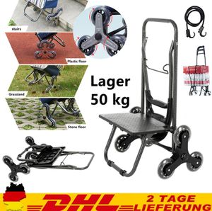 2 IN 1 Einkaufstrolley bis 50 kg klappbar abnehmbare Einkaufswagen Einkaufshilfe Roller 6 Räder Wagen, Treppensteigen