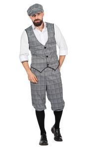 20er Jahre Peaky Blinders Herren GLENCHECK Anzug Knickerbocker Schwarz-Weiß, Größe:52