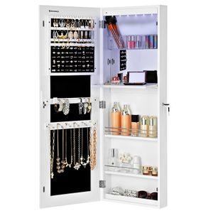 SONGMICS Schmuckschrank extra breiter Spiegel | Türmontage Wandmontage mit Innenspiegel | abschließbar Weiß JBC63WV1