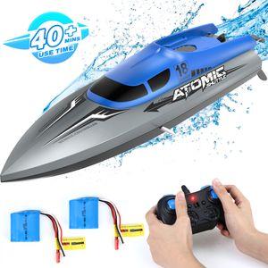 EACHINE RC Boot Racing EB02 Ferngesteuertes Boot Hochgeschwindigkeits 25KM/H Kleine Rennboot Schnellboot 2.4G Hz, 2AKKU 30Minuten