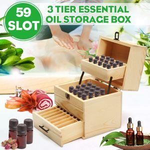 Ätherisches Öl Box Aufbewahrungskoffer Liquidflasche Organizer Sortierbox Holz