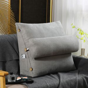 Ergonomisches Rückenkissen mit Nackenrolle Keilkissen für Sofa Bett 60x22x50cm
