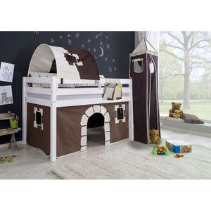 """Halbhohes Spielbett ALEX-13 Buche massiv weiß lackiert mit Stoffset Vorhang, 1-er Tunnel, Turm, Tasche """"Burg"""""""