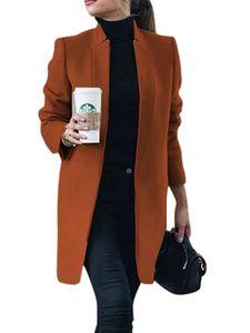 Damen Wollmantel Trench Jacke Damen Warmer langer Parka formeller Mantel,Farbe:Karamellfarbe,Größe:XXL