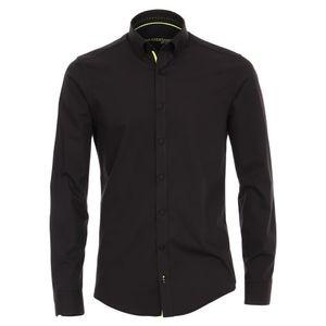 Größe L Venti Hemd Schwarz Uni mit neongelbem Besatz Langarm Modern Fit Tailliert Geschnitten Button-Down-Kragen 88% Baumwolle 12% Elasthan