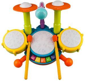 Rabing Kinder Schlagzeug Set, Drum Set für Kinder mit 2 Drumsticks 1 Mikrofon mit Licht & Hintergrundmusik Spielzeug  Trommel Musikinstrumente Spielzeug Geschenk für Jungen   M  M