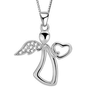 Damen Mädchen 40cm Engel Halskette mit Anhänger echt 925 Sterling Silber Schutzengel Echtschmuck für Kinder Kette Kinderkette Halsschmuck K624+Org