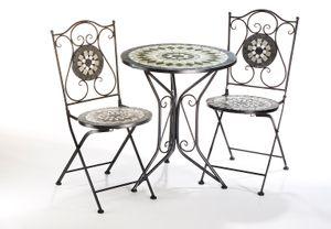 Sitzgruppe Gartenmöbel  MOSAIK - 1 Tisch - 2 Stühle - Metall -  Mosaik grau