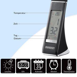 Monzana LED Schreibtischlampe Tischleuchte Schreibtischleuchte Tischlampe Leselampe mit Kalender Uhr Wecker Thermometer, Farbe:schwarz