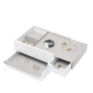UMBRA Stowit Schmuckbox Schmuckkasten Schmuckkoffer Holz / Metall weiß / nickel 290245-670