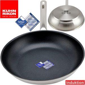 Kuhn Rikon Edelstahl Bratpfanne 28 cm mit TEFLON Platinum Plus Antihaftbeschichtung, Kapselboden mit Aluminiumkern für alle Herdarten inkl. Induktion, PFOA-frei