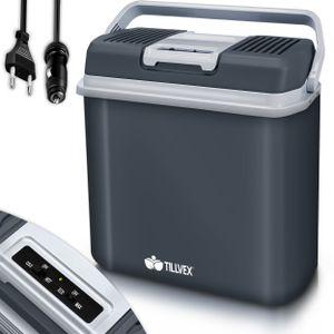 tillvex Kühlbox elektrisch 24L Grau   Mini-Kühlschrank 230 V und 12 V für KFZ Auto Camping   kühlt & wärmt   ECO-Modus
