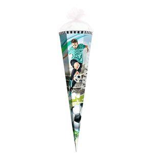 Geschenk-Schultüte klein Fußball-Star 50 cm - 6-eckig Tüllverschluss - Zuckertüte