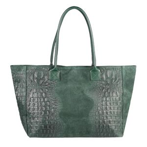 Italy DAMEN LEDER TASCHE DIN-A4 KROKO-Prägung Shopper Tote Bag Henkeltasche Wildleder Handtasche Umhängetasche Ledertasche Schultertasche Beuteltasche Dunkelgrün