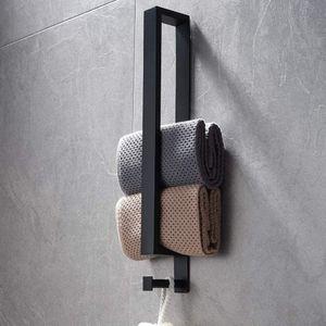 Edelstahl Handtuchhalter, Schwarz Handtuchstange Ohne Bohren, Gästehandtuchhalter Selbstklebend, Badetuchhalter kleber, Gästehandtücher Handtuch Halter 40cm mit Haken für Badezimmer
