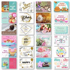 Domelo Geburtstagskarten 24er Set mit Umschlag, Happy Birthday Postkarten, Kraftpapier Karten zum Geburtstag, Geburtstagskarte für Mann/ Frau/ Kinder, Postkarte als Grußkarten