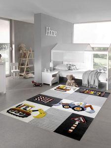 Kinderzimmer Teppich Spielteppich Baustelle Kran Bagger Straßenschilder grau creme gelb Größe - 120 cm Rund