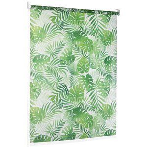 TEXMAXX Duschrollo im Grüne-Blätter-Design 140 cm breit - Duschvorhang mit Seitenzug - inkl. Zubehör (RP140-0001)