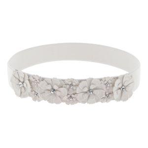 Elastischer Gürtel Korsett Taillengürtel Hüftgürtel Stretchgürtel,  Mode Blumen Und Strass-Verzierungen Farbe Weiß