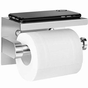 Toilettenpapierhalter Ohne Bohren, Selbstklebend Toilettenpapierrollenhalter Edelstahl mit mobiler Telefon Aufbewahrungsfach für Küche und Badzimmer WC