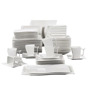 MALACASA, Serie Flora, 56 TLG. CremeWeiß Porzellan Geschirrset Kombiservice Tafelservice mit je 6 Schälen, 6 Tassen, 6 Untertassen, 12 Dessertteller, 12 Suppenteller, 12 Speiseteller und 2 Platte