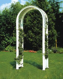 KHW Rosenbogen mit Erdspieß  ; Farbe: Weiß ; Maße (LxBxH): 100 cm x 43 cm x 207 cm ; 37901