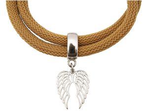 Damen Armband Wickelarmband 925 Silber Flügel Braun