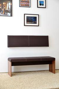S / small Wand-Kissen Keil-form Keilwandkissen Kunstleder mit Montage-Set 115 x 30 cm - braun