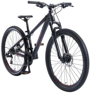 BIKESTAR Alu Mountainbike 27.5 Zoll | 21 Gang Hardtail Sport MTB 14 Zoll Rahmen Scheibenbremse Federgabel | Schwarz Rot