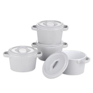vancasso MORANDI Förmchen aus Steinzeug, 4 teiliges Muffins Förmchen Set mit Deckel, mini Schälchen für Soufflé, creme brulee, Aufläufen, Fondants, Desserts