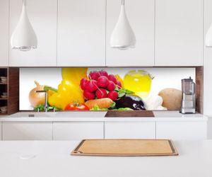 Aufkleber Küchenrückwand Gemüse Radischen Öl Salat Paprika Broccoli Folie selbstklebend Dekofolie Fliesen Möbelfolie Spritzschutz 22A529, Höhe x Länge:60cm x 300cm