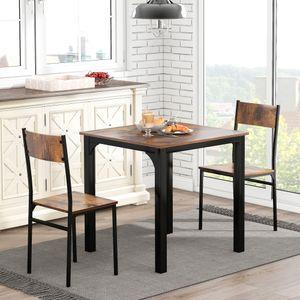 Merax Esstisch Esszimmergruppe Küchentisch mit 2 Stühlen, Esszimmertisch Kaffeetisch 70 x 70 x 75 cm für 2 Personen, Stahlgestell und Industrie-Design, Vintagebraun