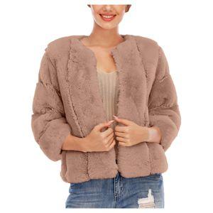 Frauen Plus Size Short Faux-Fur 'Mantel Warme pelzige Jacke Langarm Oberbekleidung Größe:S,Farbe:Ocker